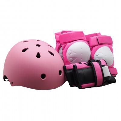 Комплект детской защиты + Шлем Clean размер S. Розовый в магазине Rollbay.ru