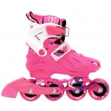 Роликовые коньки детские раздвижные  BKB K7. Розовый