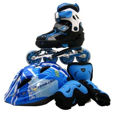 Купить Раздвижные ролики Роликовые коньки детские раздвижные Flying Eagle V5 Combo набор с защитой. Синий в магазине RollBay.ru