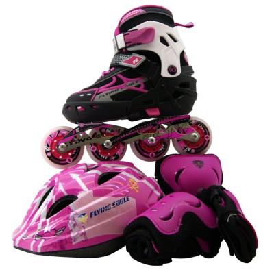 Купить Ролики для девочек Роликовые коньки детские раздвижные Flying Eagle V5 Combo набор с защитой. Розовый в магазине RollBay.ru