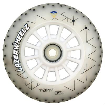 Колеса для роликов светящиеся Flying Eagle LazerWheelz +Spark 110mm/85A. Белый в магазине Rollbay.ru