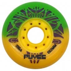 Колеса для роликовых коньков PUYEE 80mm/85А. Желто-зеленые