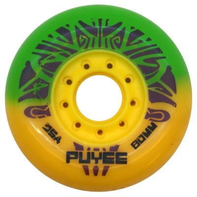 Колеса для роликовых коньков PUYEE 80mm/85А. Желто-зеленые в магазине Rollbay.ru