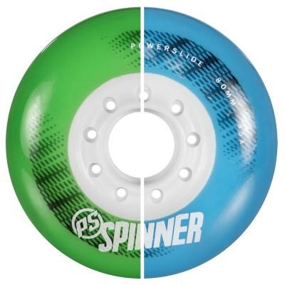 Колеса для роликов Powerslide Spinner 80mm/85A. Зеленый/Голубой в магазине Rollbay.ru