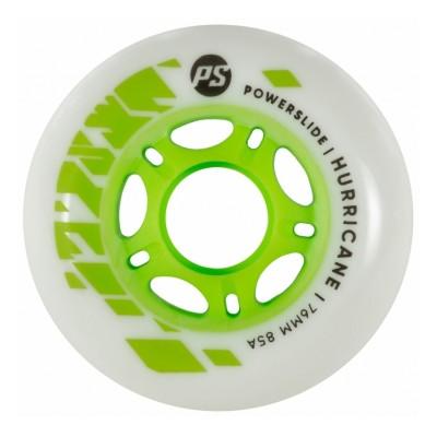 Колеса для роликовых коньков Powerslide Hurricane 76mm/85A (White/Green) 4-pack в магазине Rollbay.ru