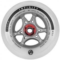 Колесо для роликов Powerslide Infinity 100mm/85A с подшипниками. Белый