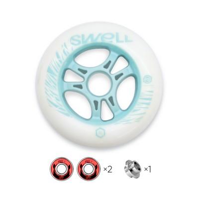 Колесо для роликов Powerslide Infinity Swell 110mm/86A с подшипниками. Бирюзовый в магазине Rollbay.ru