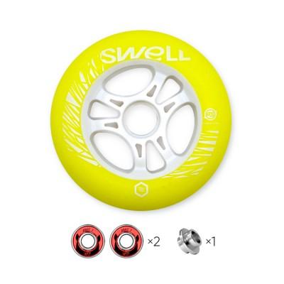 Колесо для роликов Powerslide Infinity Swell 110mm/86A с подшипниками. Желтый в магазине Rollbay.ru