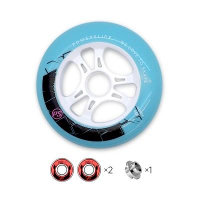 Колесо для роликов Powerslide Infinity 110mm/85A с подшипниками. Голубой в магазине Rollbay.ru