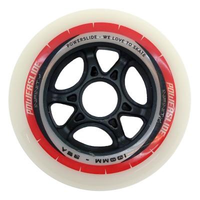 Колеса для роликовых коньков Powerslide Infinity 100mm/85A. Красно-белые в магазине Rollbay.ru