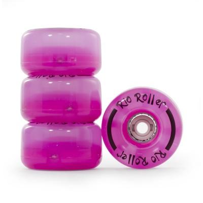 Колеса для квадов Rio Roller LIght Up Wheels 58x33mm/82A Pink  4-pack в магазине Rollbay.ru